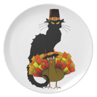 Thanksgiving Le Chat Noir With Turkey Pilgrim Plate