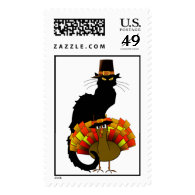 Thanksgiving Le Chat Noir With Turkey Pilgrim Postage