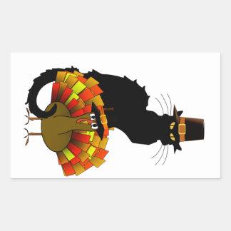 Thanksgiving Le Chat Noir With Turkey Pilgrim Rectangular Sticker