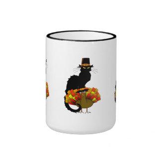 Thanksgiving Le Chat Noir With Turkey Pilgrim Ringer Mug