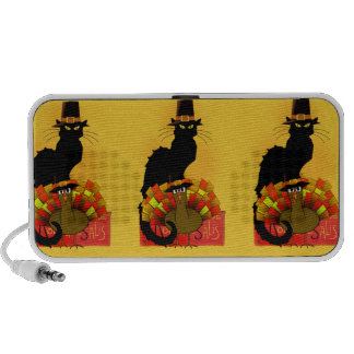 Thanksgiving Le Chat Noir With Turkey Pilgrim iPhone Speakers