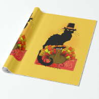 Thanksgiving Le Chat Noir With Turkey Pilgrim Wrapping Paper