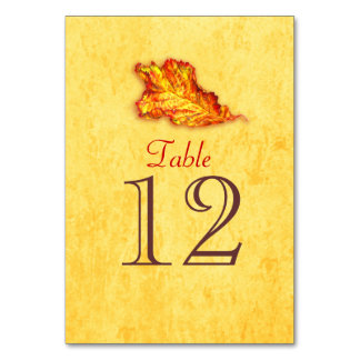 Thanksgiving leaf art table numbers card