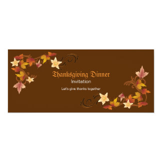 Thanksgiving Leaves Classic Fall Theme 4x9.25 Paper Invitation Card