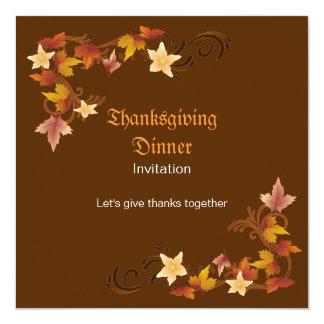 Thanksgiving Leaves Classic Fall Theme Invitation