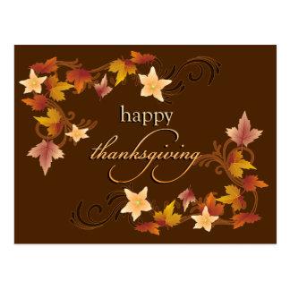 Thanksgiving Leaves Fall Theme Postcard