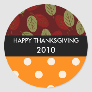 Thanksgiving leaves n dots, strip black TG, HAP... Classic Round Sticker