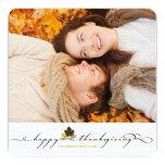 "Thanksgiving Leaves Simple Flourish Photo Card 5.25"" Square Invitation Card"