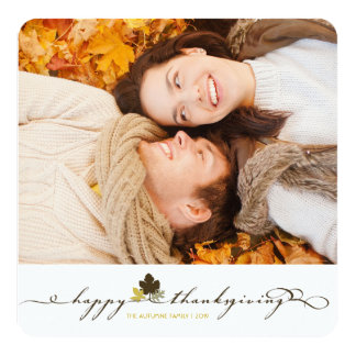 "Thanksgiving Leaves Simple Flourish Photo Card 5.25"" Square Invitation Card"