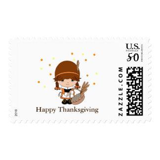 Thanksgiving Little Pilgrim Girl Postage