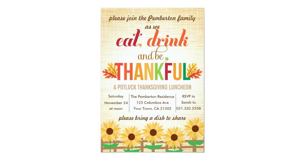 Thanksgiving lunch potluck eat drink give thanks card zazzle for What to serve for thanksgiving lunch