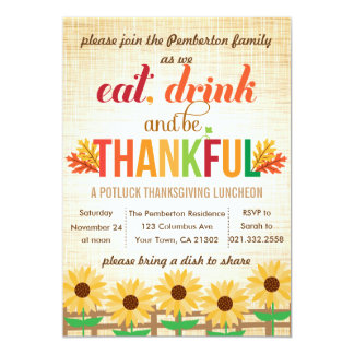 Thanksgiving Lunch Potluck Eat Drink Give Thanks 5x7 Paper Invitation Card