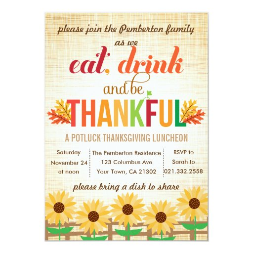 Thanksgiving Lunch Potluck Eat Drink Give Thanks Personalized Announcements