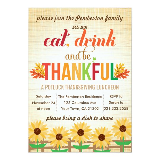 thanksgiving lunch potluck eat drink give thanks invitation zazzle com