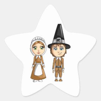 Thanksgiving Man and Woman Pilgrim Couple Star Sticker