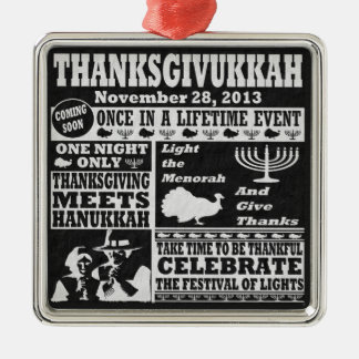 Thanksgiving meets Hanukkah Thanksgivukkah Print Metal Ornament