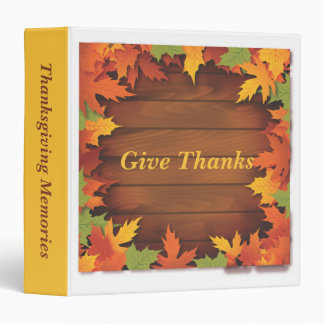 Thanksgiving Memories Autumn Leaves and Wood Binder