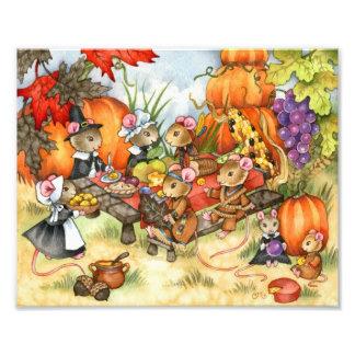 Thanksgiving Mice - Cute art print Photo Art