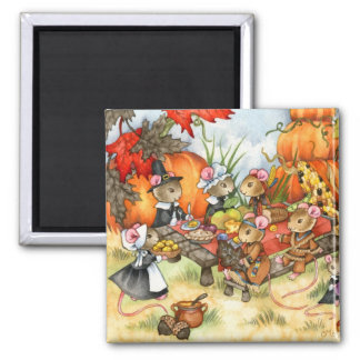Thanksgiving Mice - Cute Magnet