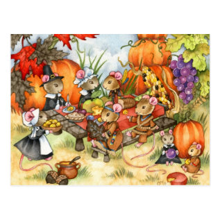 Thanksgiving Mice - Cute Postcards at Zazzle