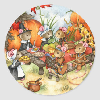 Thanksgiving Mice - Cute Stickers