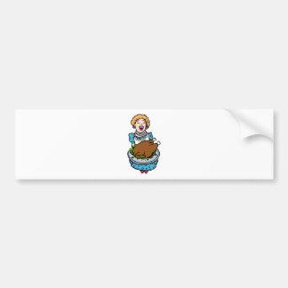 Thanksgiving Mom Serving Turkey Platter Bumper Sticker