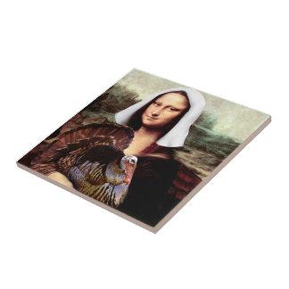 Thanksgiving Mona Lisa Pilgrim Ceramic Tile