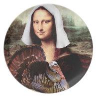 Thanksgiving Mona Lisa Pilgrim Dinner Plate