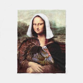 Thanksgiving Mona Lisa Pilgrim Fleece Blanket