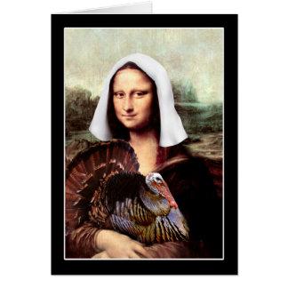 Thanksgiving Mona Lisa Pilgrim Greeting Cards