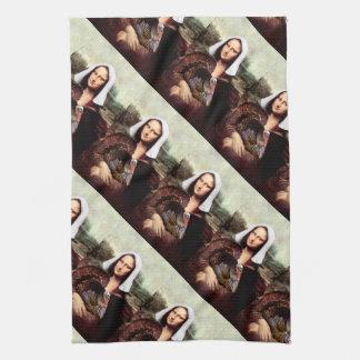 Thanksgiving Mona Lisa Pilgrim Hand Towel