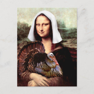 Thanksgiving Mona Lisa Pilgrim Holiday Postcard