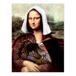 Thanksgiving Mona Lisa Pilgrim Postcard