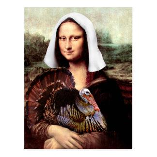 Thanksgiving Mona Lisa Pilgrim Postcard