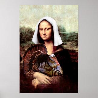 Thanksgiving Mona Lisa Pilgrim Poster