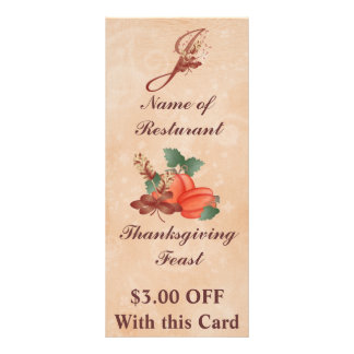 Thanksgiving Monogram J Rack Card /Resturant