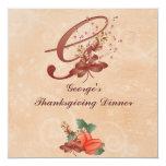 "Thanksgiving Monogram Letter G Invitation Card 5.25"" Square Invitation Card"