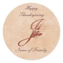 Thanksgiving Monogram Letter J Sticker
