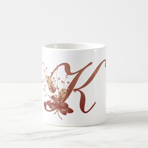 Thanksgiving monogram letter k cup zazzle for Monogram letters for cups