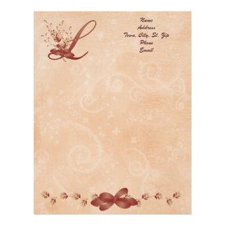 Thanksgiving Monogram Letter L Letterhead