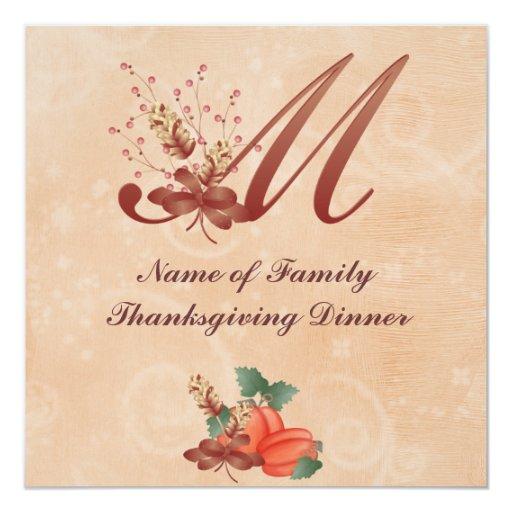 Thanksgiving Monogram Letter M Invitation Card