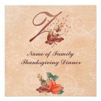 Thanksgiving Monogram Letter z Invitation Card