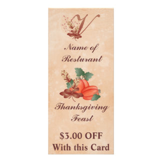Thanksgiving Monogram V Rack Card /Resturant