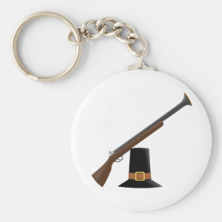 Thanksgiving Musket and Pilgrim Hat (Capotain) Keychains