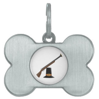 Thanksgiving Musket and Pilgrim Hat (Capotain) Pet ID Tag