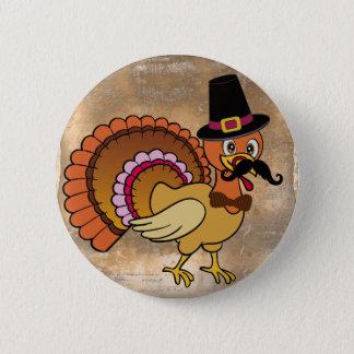 Thanksgiving Mustache Turkey Button