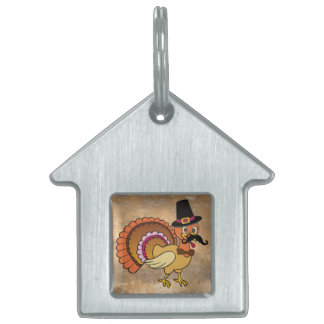 Thanksgiving Mustache Turkey Pet Tags