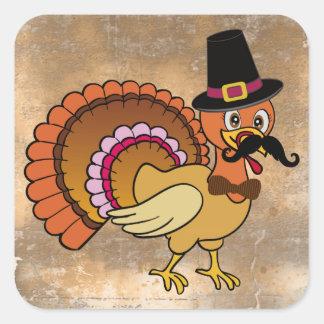Thanksgiving Mustache Turkey Square Sticker
