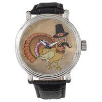Thanksgiving Mustache Turkey Wrist Watch