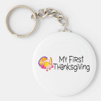 Thanksgiving My First Thanksgiving Basic Round Button Keychain